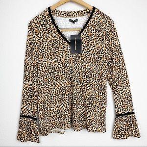 Jeanne Pierre Leopard V-Neck Bell Sleeve Top NWT